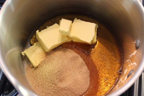 melting the butter, sugar and syrup