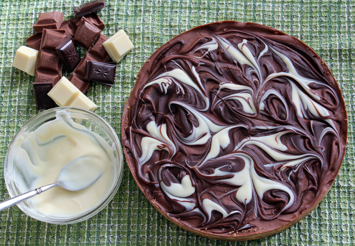 marbled chocolate caramel tart