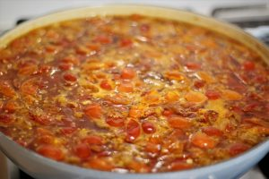 red tomato chutney simmering